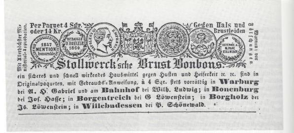 Die Brustbonbons gab es in Borgholz bei dem jüdischen Händler Löwenstein zu kaufen (Anzeige im Warburger Kreisblatt, Dezember 1862).